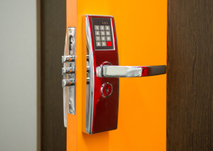 Electronic Lock On Commercial Building